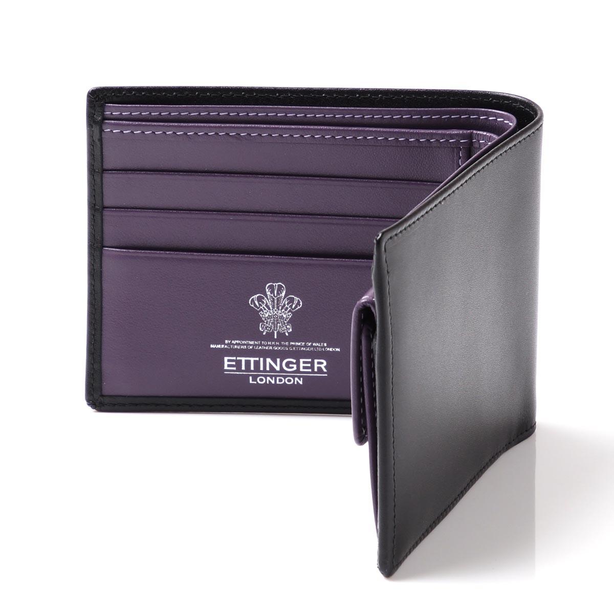 エッティンガー/ETTINGER 2つ折り財布[小銭入れ付き] ロイヤルコレクション BLACK×PURPLE ブラック系 st141jr メンズ【あす楽対応_関東】