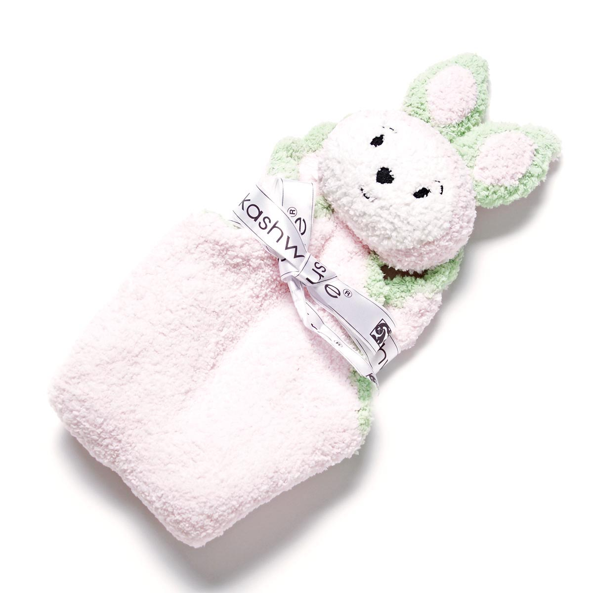 カシウエア Kashwere ベビーブランケット(ラビット) Pink with Green Apple Trim ピンク系 kk 60 01 40 キッズ&ベビー【ラッピング無料】【返品送料無料】【16 12 07】【あす楽対応_関東】