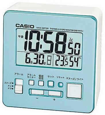カシオ 電波時計 コンパクト 置時計 デジタル 目覚まし時計 おしゃれな ブルー 青 (CL15JL04) スヌーズ アラーム 日付 曜日 カレンダー 温度 湿度計 LED ライト付き 見やすい 大型液晶 静かな トラベルクロック CASIO 電波 置き時計 旅行用 目覚まし時計