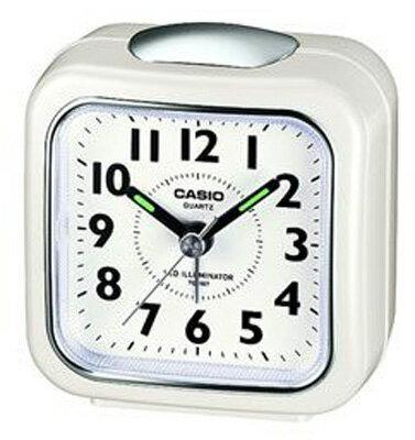 カシオ トラベルクロック コンパクト 置き時計 アナログ 目覚まし時計 おしゃれな ホワイト 白(SCL16FB16WHT)見やすい アラビア数字 アラーム LED ライト付き CASIO 旅行用 目覚まし時計