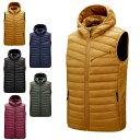 ショッピングダウンベスト 中綿ベスト メンズ ダウン風ベスト フード付き 冬 カジュアル ファッション 軽量  暖かい ジャケット 厚い 防風 防寒着 男性用ベスト 秋冬
