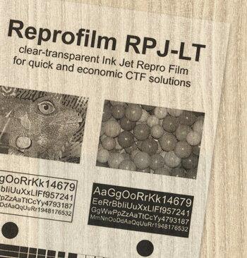インクジェットプリンター用製版フィルム  リプロジェットP LT(0.135mm/染料・顔料インク対応)A4/100枚入