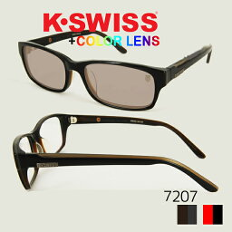 【K-SWISS with Color Plus*】HAND MADE テンプル K7207 メガネ スクエア カラーレンズ メンズ 伊達メガネ 度なし めがね 眼鏡 ブランド メガネ ウェリントン KSWISS サングラス UVカット サングラス レディース UVカット メガネ 度付き サングラス 黒縁 sunglasses