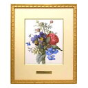 取り寄せ ルドゥーテ 複製画シリーズ 肉筆画 原寸大 「赤のラナンキュラス、紫と黄色のパンジーの花束」 真鍮プレート 絵画 Redoute 薔薇 ローズ バラ Rose オクノブ
