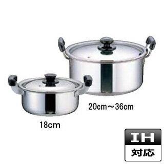 『 両手鍋 IH IH対応 』両手鍋 IH100V対応 IH200V対応 ステンレス プラスチック柄 厚板実用鍋 24cm IH鍋