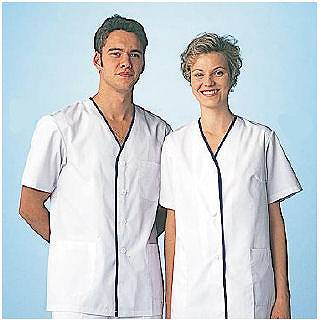 【 業務用 】女性用デザイン白衣 半袖 FA-349S