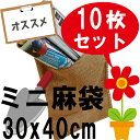 麻袋 ミニ ドンゴロス 小さいサイズ10枚セット(30x40cm)ガーデニング 雑貨 収納 ジュート