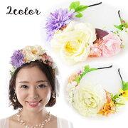 【花カチューシャ】フラワーカチューシャ髪飾り/全2色/ホワイト 白/パープル 紫[fc081]