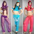 コスプレ 衣装 コスチューム [5点セット] 帽子 トップス ショーツ パンツ フェイスベール [選べる3色]アラビアンプリンセス(パープル・ピンク・ライトブルー)5400円以上お買い上げで送料無料 アラビアン セクシー sexy cosplay