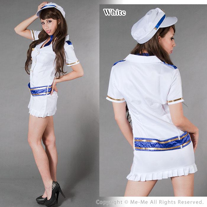 コスプレ 衣装 ポリス コスチューム Police cosplay 二つボタンのミニ丈ワンピース ポリス (ホワイト ネイビー) [1012] [4点セット] 帽子 ネクタイ ワンピース ベルト 5400円以上お買い上げで送料無料 ミーミー コスプレ:Me-Me(ミーミー)