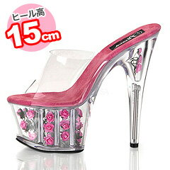 A 15cm heel! ♪ crystal mule (in hot pink )/ me me ☆ 7,000 yen or more) with Rose