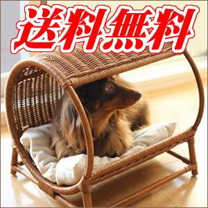 ペット用ベッド ラタン トンネルベッド☆体重7kgまでの超小型犬~小型犬、猫ちゃんに!夏を涼しくクールなラタン ベット【特価セール】 【送料無料】