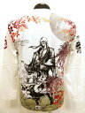 和柄【錦-nishiki-×がしゃ】ダブルネーム/ロンT長袖Tシャツ髑髏侍〔二刀×曼珠沙華〕刺繍×抜染プリント、59207白・黒、M〜XXL