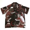 和柄【satori-さとり-】シルク半袖アロハシャツ〔跳ね双鯉総柄〕GSS-401、白・黒(全2色)、M〜XL