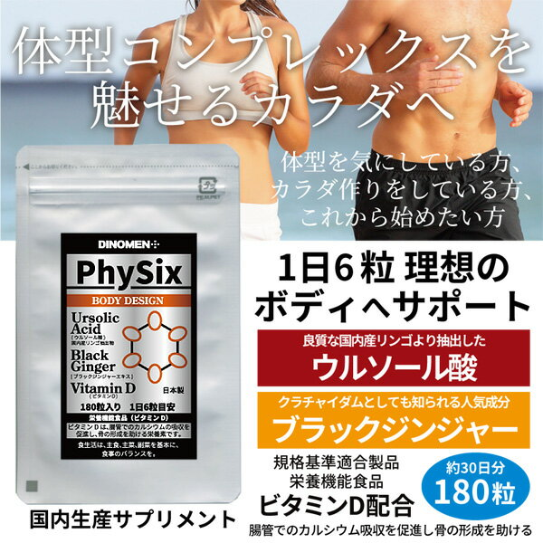 初回限定 サプリメント DiNOMENボディデザイン PhySix 180粒 筋肉ケア 脂肪燃焼 骨成形促進 ブラックジンジャー クラチャイダム ウルソール酸 ビタミンD メール便送料無料 メンズ レディース