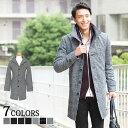 送料無料 ロングコート コート メンズ イタリアンカラー ウール メンズファッション ウール混イタリアンカラーロングコート