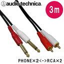 オーディオテクニカ ラインケーブル【3.0m】モノラル標準プラグ(Phone)とピンプラグ(RCA)のケーブル2本1組 ATL481A/3.0
