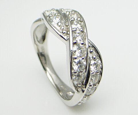 """K18 WG 1.0ct 天然ダイヤリング"""" SIクラス以上の品質の良いダイヤモンドを15石使い流れる様に配置したデザイン。1.0CTのボリュームに誰もが釘付けにされてしまいます。"""" 【50%OFF!!】【半額以下】【送料無料】【オープンセール】"""