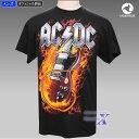 AC/DC公式メンズTシャツ(デビルギター)リキッドブルー製...