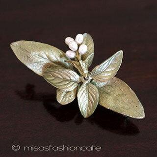 MichaelMichaud (マイケルミショー) 真珠 バジル ハーブ ブローチ 植物モチーフ 入園式 入学式