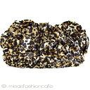 ショッピングクラッチ SANTI サンティ クラッチバッグ レオパードフラワー豹柄 ヒョウ柄 レオパ フリル パーティーバッグ