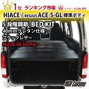 ハイエースベッドキット 200系 標準S-GL用 ブラックレザー 40mmウレタン仕様 車中泊(20