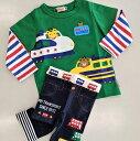 ショッピング上下 [mikihouse][ミキハウス] 男の子Tシャツセット レイヤード風長袖Tシャツとデニム風スパッツセット(80cm-100cm)