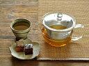 ガラス食器 耐熱ガラスお茶ポットワイド450cc<ステンレス製カゴ網付き>【中国製/食