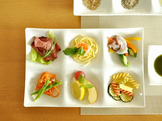 白色餐具 kowake 六分區板白色-2 級