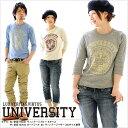 Tシャツ 長袖 <UNIVERSITY> 7分袖 ヴィンテージ風 ラグランTシャツ 倉敷児島発 /LS XS S M L XL