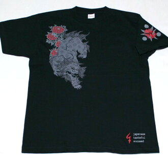 Kyoto Yuzen and Japanese pattern t-shirt karajishi Peony ( からじし Botan ) fs3gm Rakuten Japan sale item