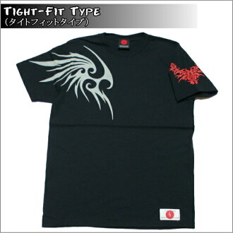 Slender silhouette and women's match and Kyo Yuzen and Japanese pattern t-shirt tribal wings ( casual ) 10P13oct13_b