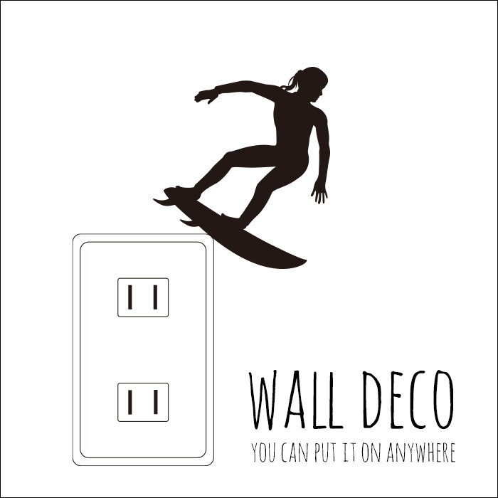 ウォールステッカー WALL DECO SURF サーフィン 波乗り 海 イケメン 板 スイッチ コンセント 小さい 人気 かわいい 面白い シルエット シール DIY デコレーション 転写 インテリア 剥がせる リフォーム アレンジ プレゼント 飾り付け インテリア 子供部屋 壁紙シール MIC