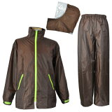 雨対策に、濡れる作業場に。 防水 雨衣 イージーレイン【お買得 かっぱ】コヤナギ 防水 レインウェア レインコート 合羽 雨衣 《二重袖&袖口調節》 EasyRain EZ-55 ブラウン