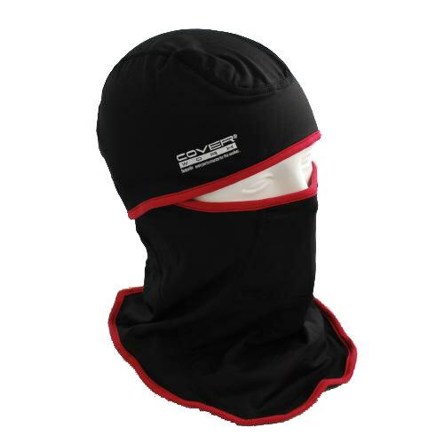 保湿性を高めた多機能フェイスマスク [布施商店] 防寒対策 装着方法6通り 超軽量 薄手 フィット感抜群 ヒートフェイスマスク ブラック/レッド FT-561【ランキングにランクイン】
