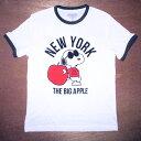 ショッピングスヌーピー スヌーピー snoopy大人・メンズ TシャツNEW YORK COOL JOE/Lサイズ(WH/杢BK)※ワケあり※ピーナッツ peanuts アメキャラ キャラクターTシャツ ネイビー アメT アメ雑