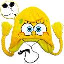 ショッピングニット帽 ◎【スポンジボブ/Sponge Bob】 フェイス柄 ペルビアンハット【イヤホン付☆】 ニット帽・ニットキャップ アメキャラ・アメコミ・アメリカン雑貨・アメリカ雑貨・アメ雑