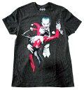 【DC/ディーシー】Tシャツ『ジョーカー&ハーレイクイン(斑ダークGY)』 DCコミックス・バットマン・アメキャラ・アメコミ・アメリカン雑貨