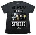 【スヌーピー/snoopy】大人・メンズ Tシャツ『WE RUN THESE STREETS/Mサイズ(ダークGY)』 ピーナッツ・peanuts・アメキャラ・...