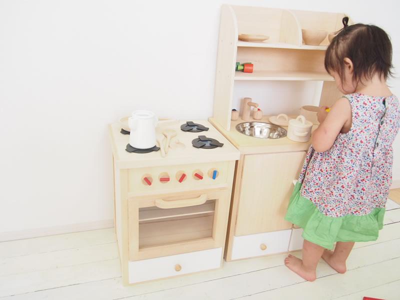 木のおもちゃ ままごとキッチン 木製 おままごとキッチン  おままごとレンジ白 /お誕生日 出産祝いに【楽ギフ_包装選択】