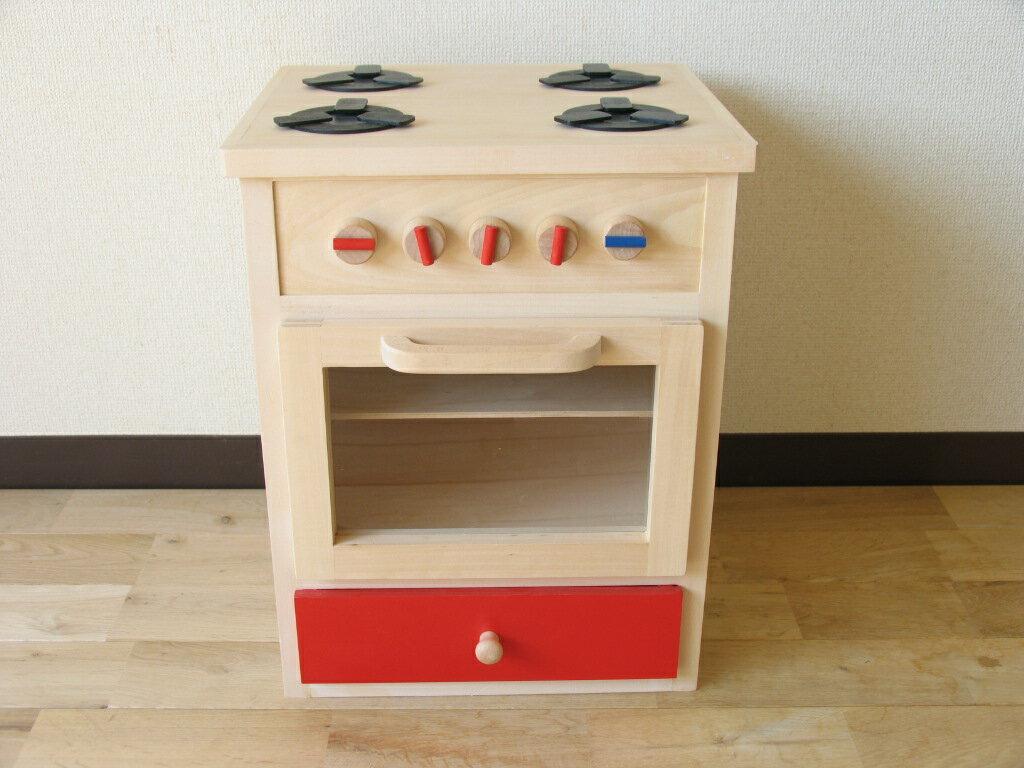 木のおもちゃ ままごとキッチン 木製 おままごとキッチン おままごとレンジ赤 /お誕生日 出産祝いに【選択】