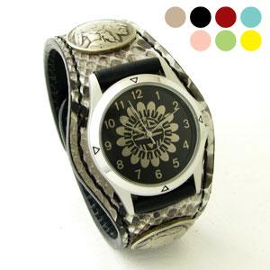 KC,s腕時計(ケーシーズ)パイソン ニシキヘビ革 3コンチョレザーウォッチ 6色KSR508【ケイシイズ】