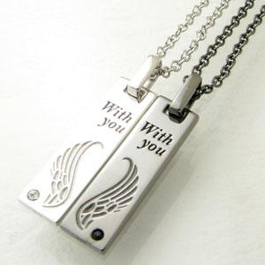close to me(クロス・トゥ・ミー)スワロフスキーコレクション フェザープレートハートを描くふたつの翼 ペアシルバーネックレスSN13-119S【ネックレス】