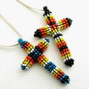 ネックレス カラフルビーズの大きなクロス クラフト感たっぷりの十字架 レザーネックレス 2色KN22016【ネックレス】