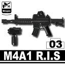 【レゴカスタムパーツ/ウエポンパーツ】AFM M4A1 R.I.S./ブラック◆脱着可能なフォアグリップ付属/米軍装備/特殊部隊装備に/フィグ用[全国一律300円配送可能]