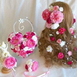 ボリューム髪飾り ハートバック ブートニア3点セット  かわいいピンク ラプンツェル風【ウェディングブーケ】【ブライダルブーケ】
