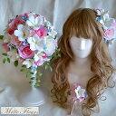 髪飾り ウェディングブーケ ブートニアセット プルメリア ピンク ブルー