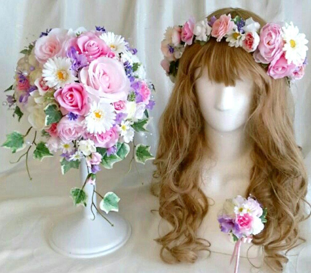 ウェディングブーケ 花冠セット ピンク パープルブートニア付き