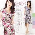 カシュクールワンピ:Candy FLOWER ジャージー カシュクール ワンピース 半袖 着やせ 大人 上品 30代 40代 花柄 エレガント 春夏 トールサイズ