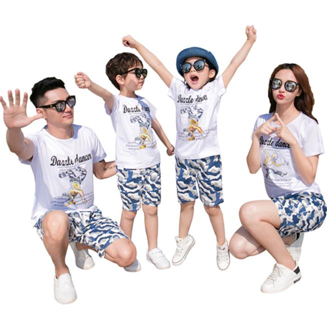 3着送料無料!親子お揃い カップル 上下セット 短袖Tシャツ メンズ レディース Tシャツ ハート柄 ユニセックス おそろい親子服 兄弟 姉妹 ビーチ ペアルック 親子 ペアTシャツ 出産祝い 誕生日プレゼント 子供と親子お揃い服を!セットアップ パンツ 子供 キッズ